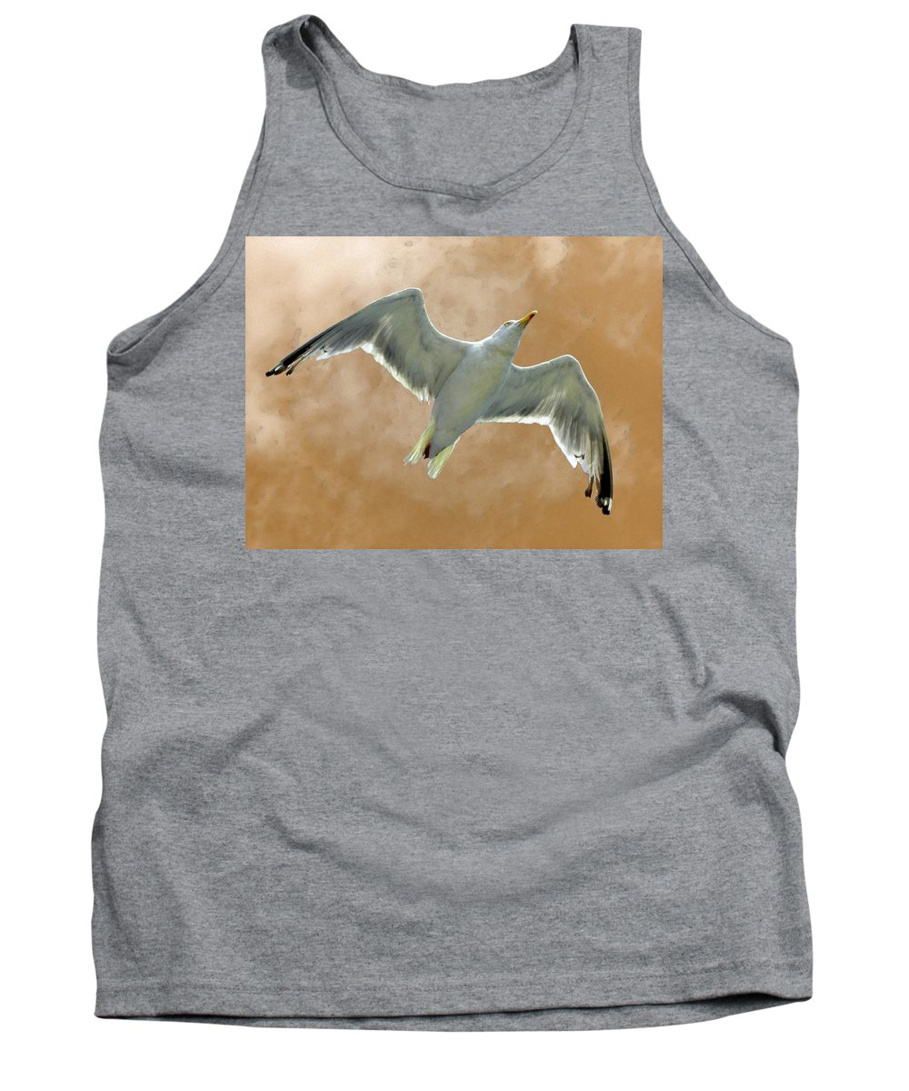 Seagull Tank Top featuring the photograph Seagull In Flight 1 by Mark Sellers