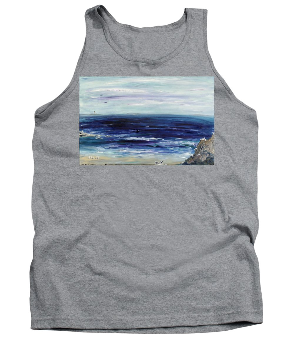 White Cat Tank Top featuring the painting Seascape With White Cats by Regina Valluzzi