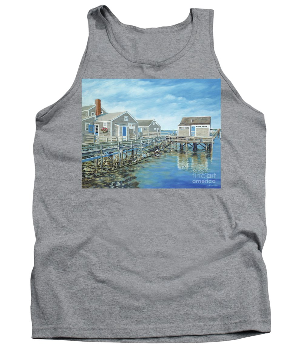 Nanutucket Tank Top featuring the painting Seaside Cottages by Danielle Perry