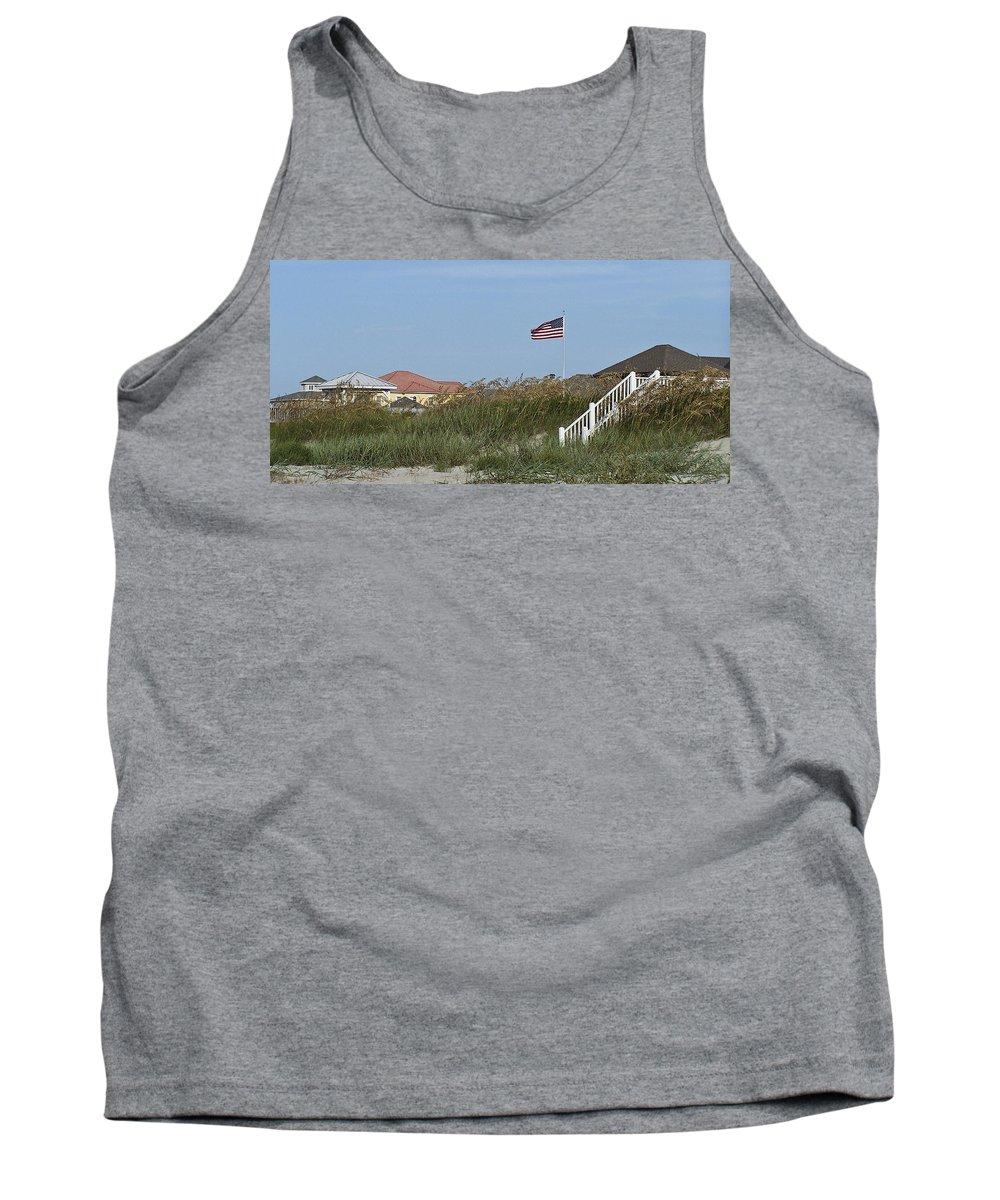 Ocean Tank Top featuring the photograph Seaside Patriotism by Teresa Mucha