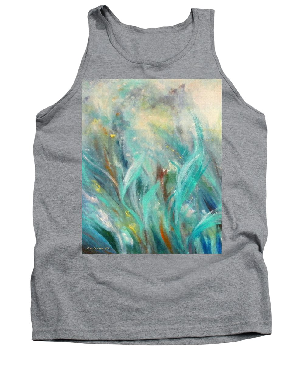 Fish Tank Top featuring the painting Seaweeds by Gina De Gorna