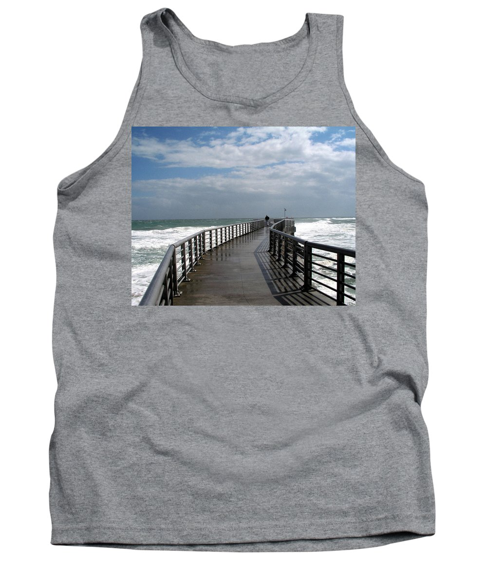 Walk; Solitary; Lonely; Sebastian; Inlet; Florida; Sea; Ocean; Water; Surf; Atlantic; Jetty; Waves; Tank Top featuring the photograph Sebastian Inlet On The Atlantic Coast Of Florida by Allan Hughes