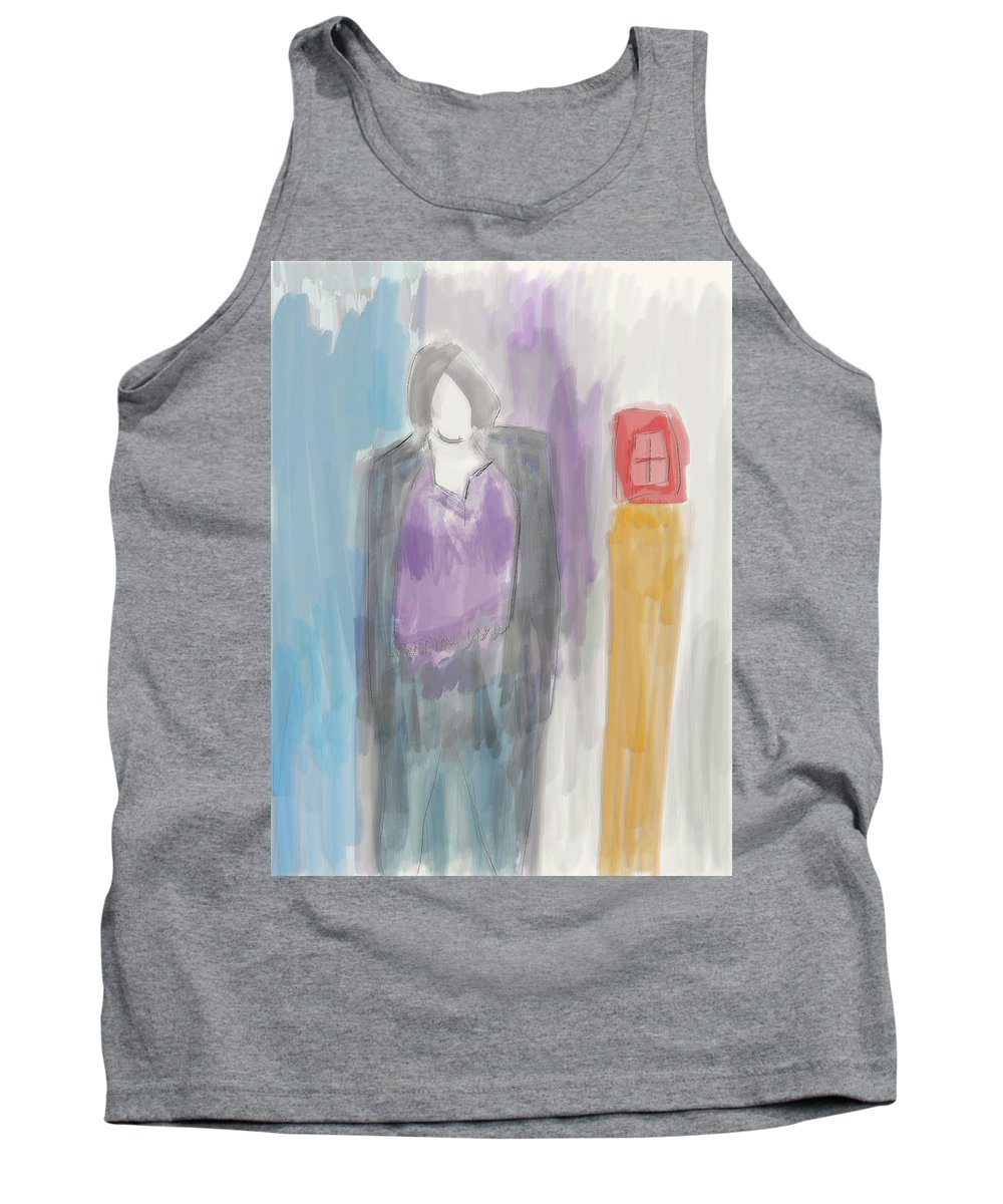 Apple Pencil Drawing Tank Top featuring the painting See The Light by Bill Owen