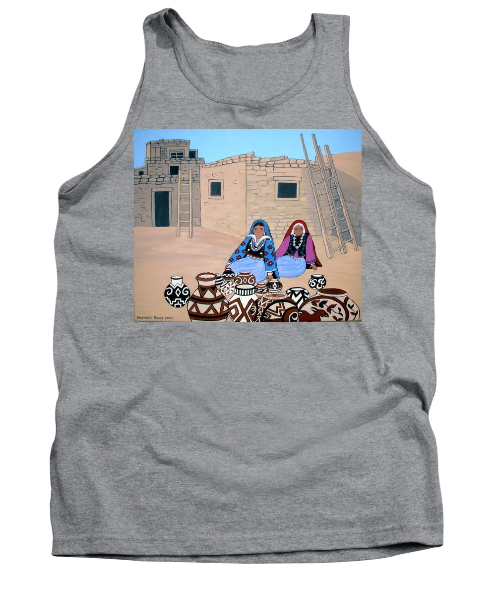 Women Tank Top featuring the painting Selling Pots by Stephanie Moore