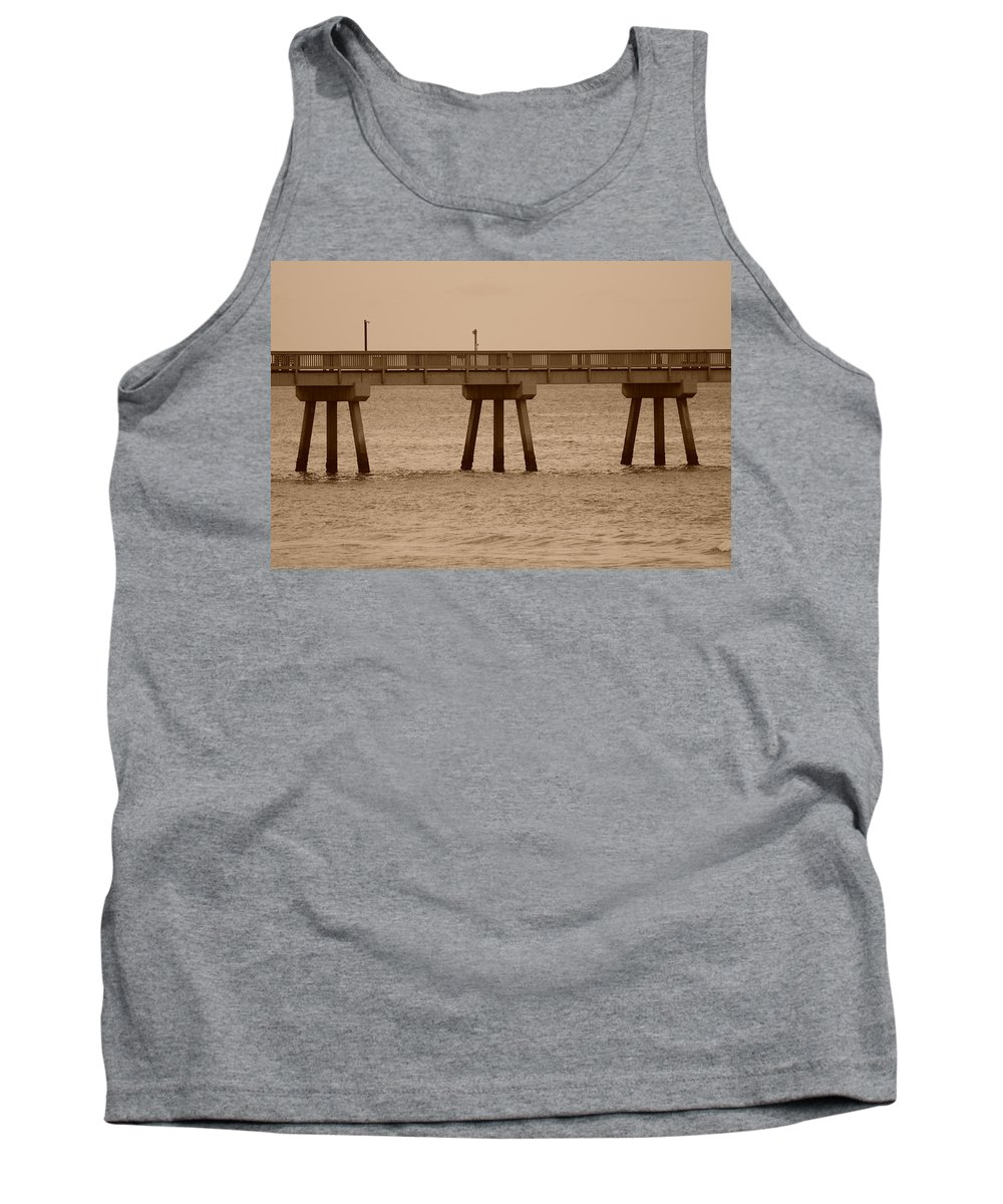 Sepia Tank Top featuring the photograph Sepia Pier by Rob Hans