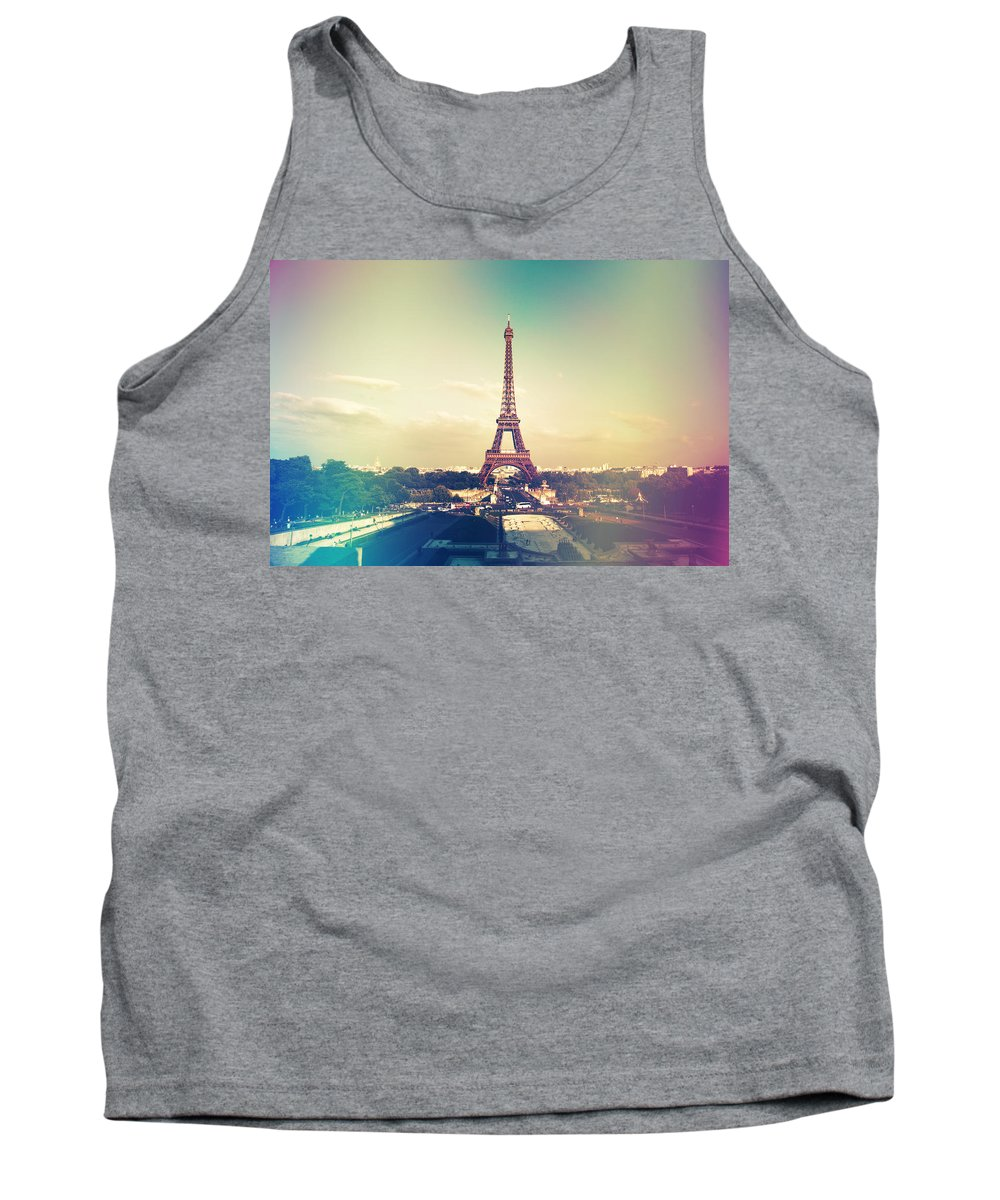 Architecture Tank Top featuring the photograph Shabby Chic Vintage Style Eiffel Tower Paris by Sandra Rugina