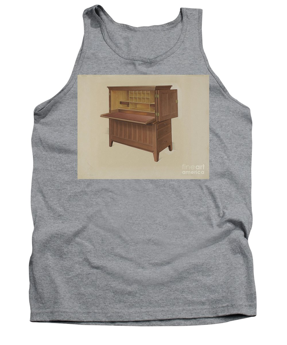Tank Top featuring the drawing Shaker Desk by Anne Ger