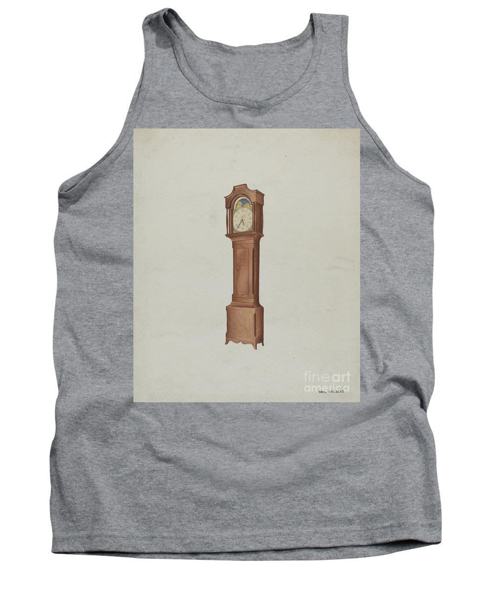 Tank Top featuring the drawing Shaker Tall Clock by William Paul Childers