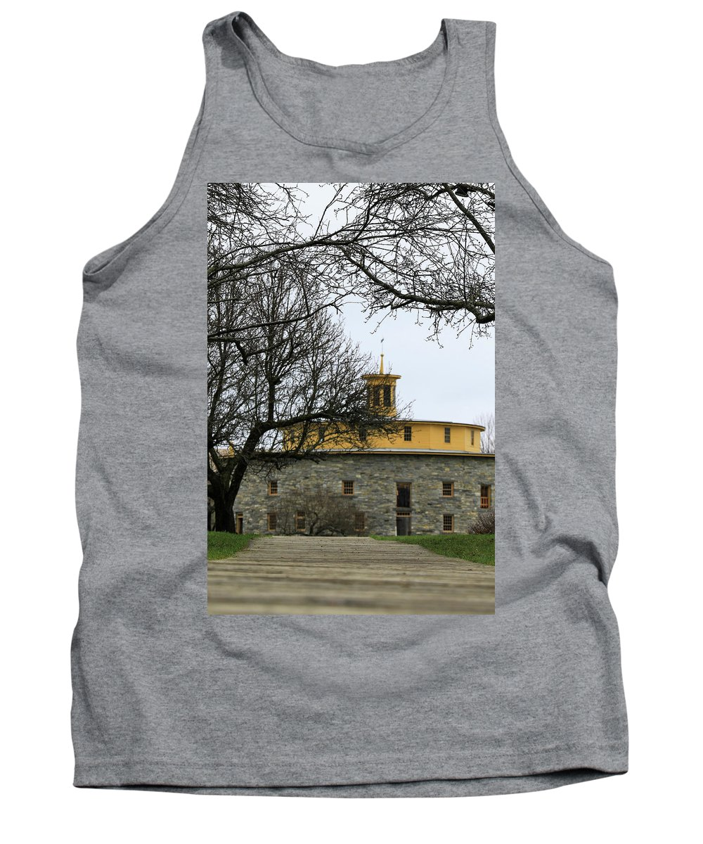 Hancock Shaker Village Tank Top featuring the photograph Shaker Village Barn by Debbie Storie