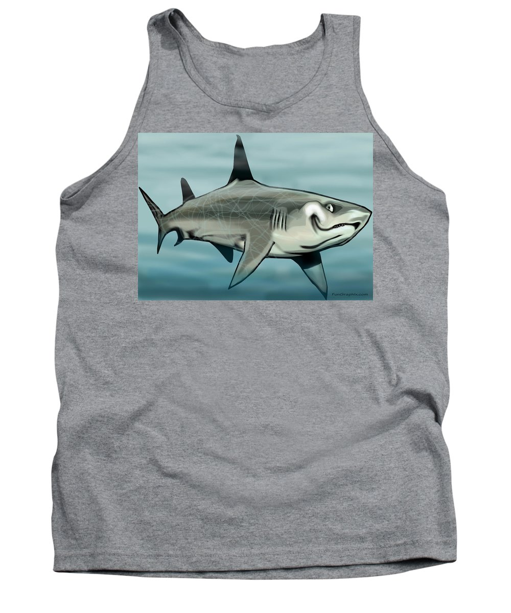 Shark Tank Top featuring the painting Shark by Kevin Middleton