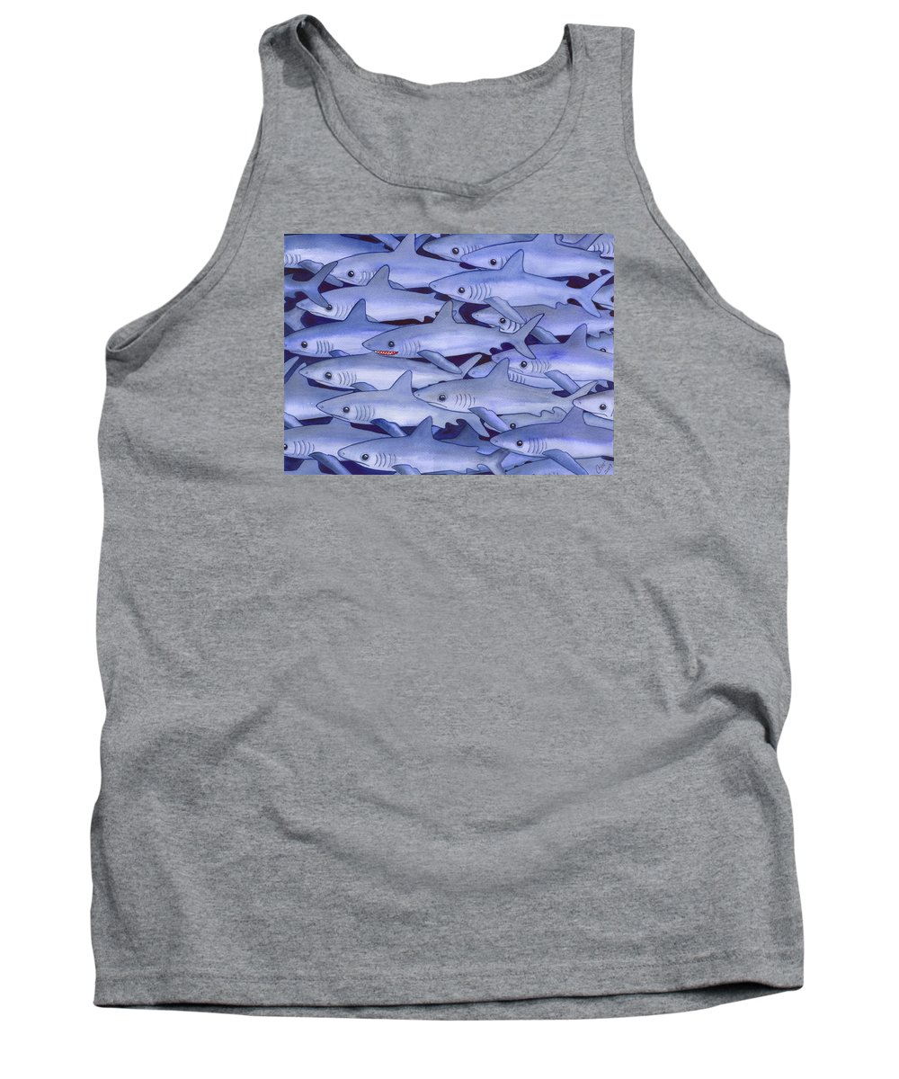 Shark Tank Top featuring the painting Sharks by Catherine G McElroy