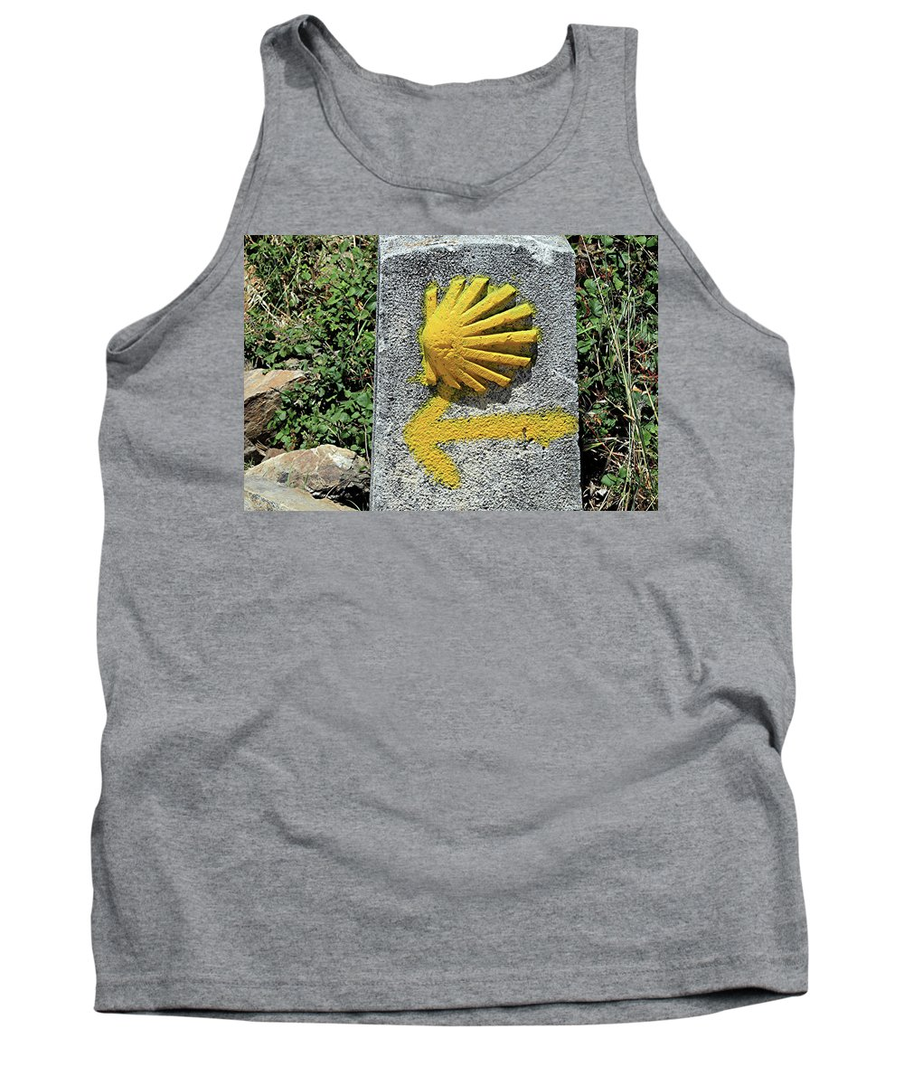 Arrow Tank Top featuring the photograph Shell And Arrow Marker, El Camino, Spain by Fran West