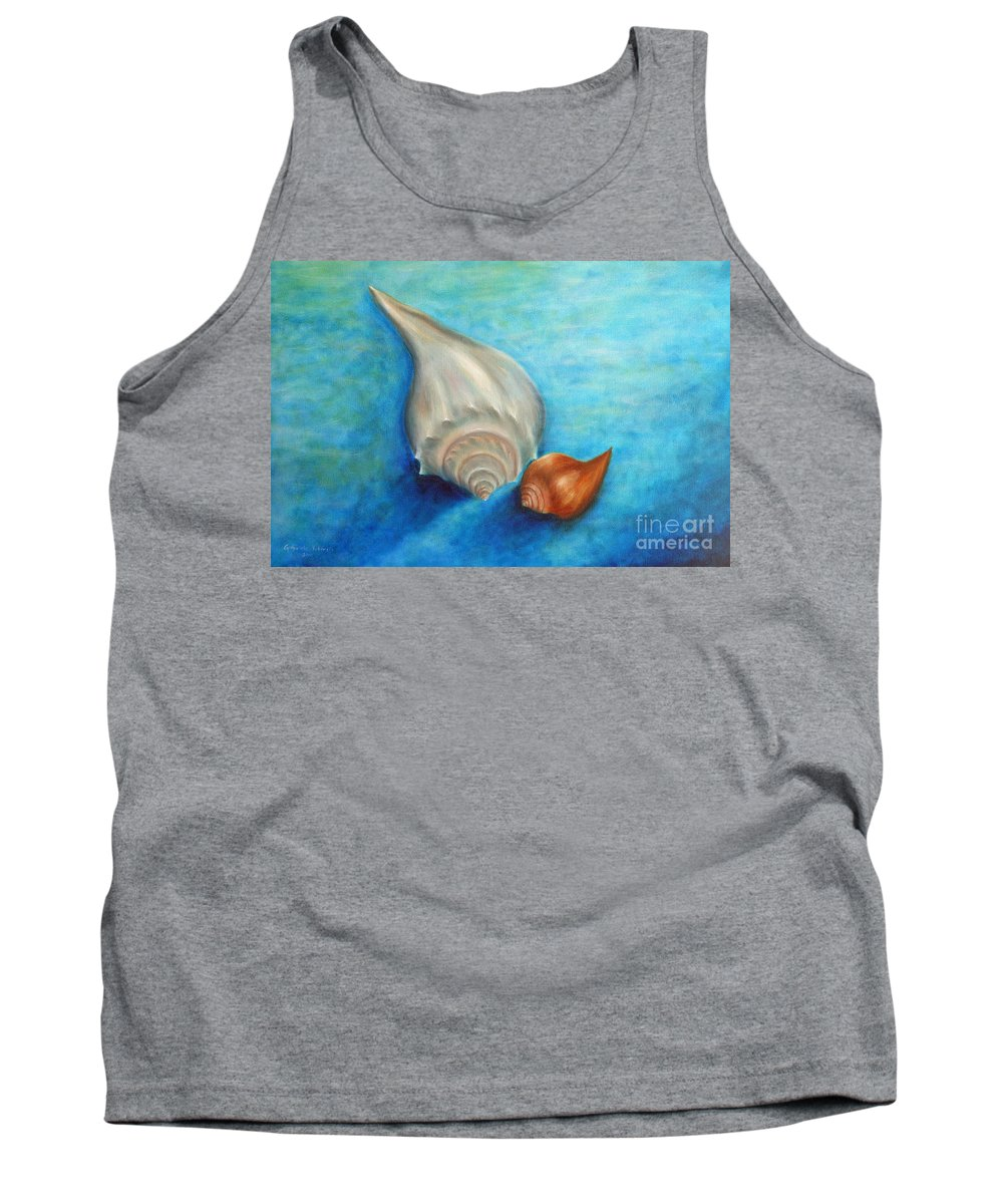 Seashells Paintings Tank Top featuring the painting Shells In Blue by Gabriela Valencia