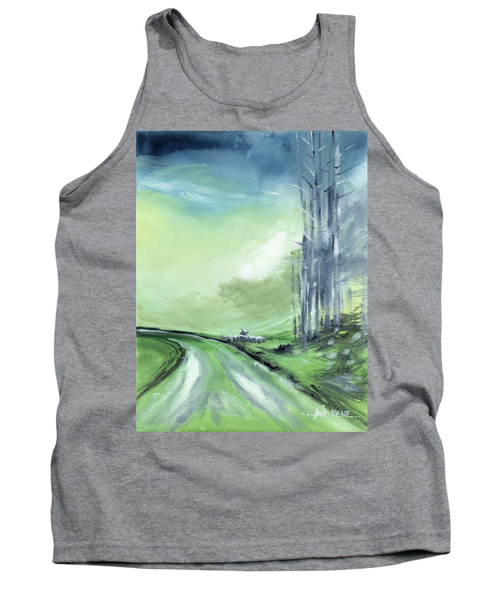Nature Tank Top featuring the painting Shepherd 2 by Anil Nene