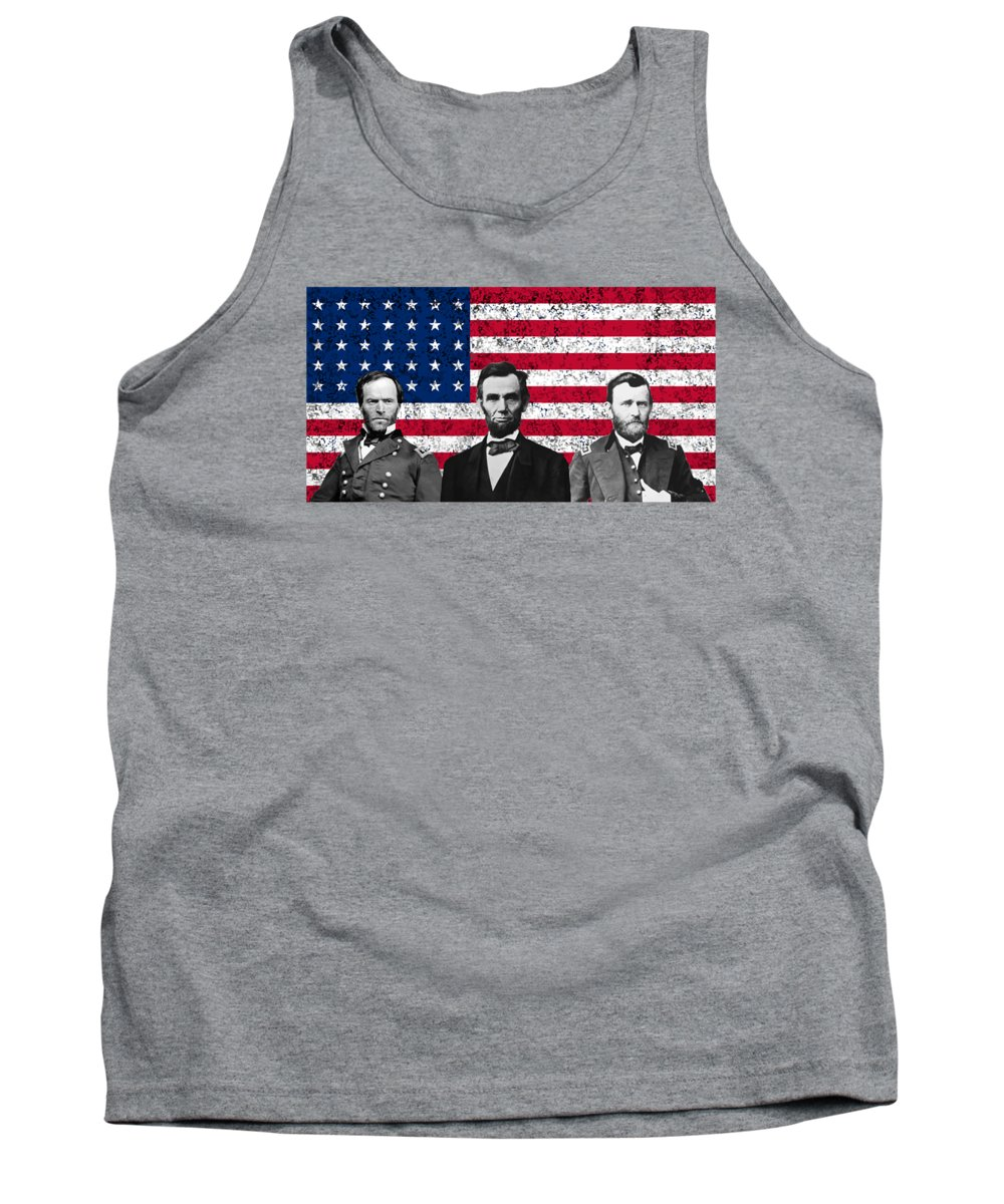 Abraham Lincoln Tank Top featuring the digital art Sherman - Lincoln - Grant by War Is Hell Store