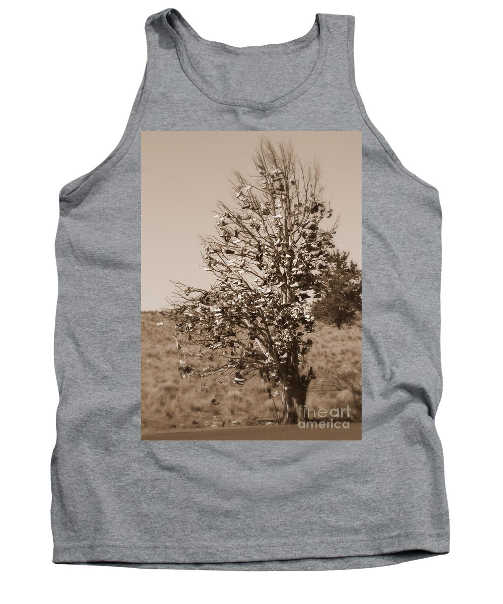 Sepia Tank Top featuring the photograph Shoe Tree In Sepia by Carol Groenen