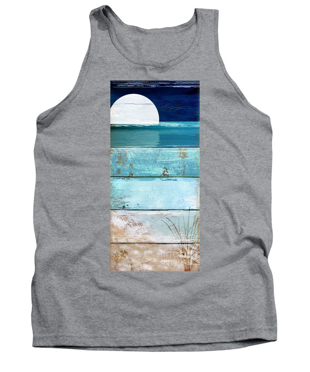 Beach Tank Top featuring the painting Shore And Moonrise by Mindy Sommers