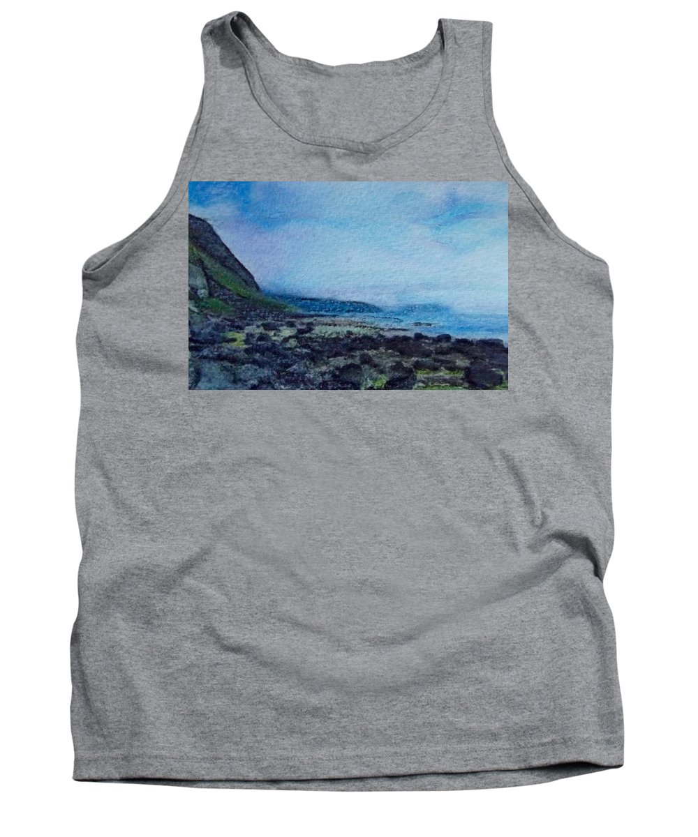 Sky Tank Top featuring the painting Shore Of Loneliness by Cara Frafjord