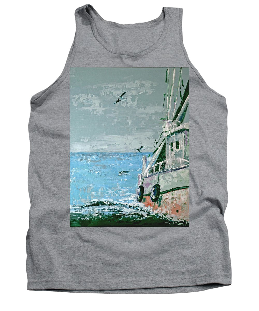 Acrylic Tank Top featuring the painting Shrimp Boat In The Gulf by Suzanne McKee