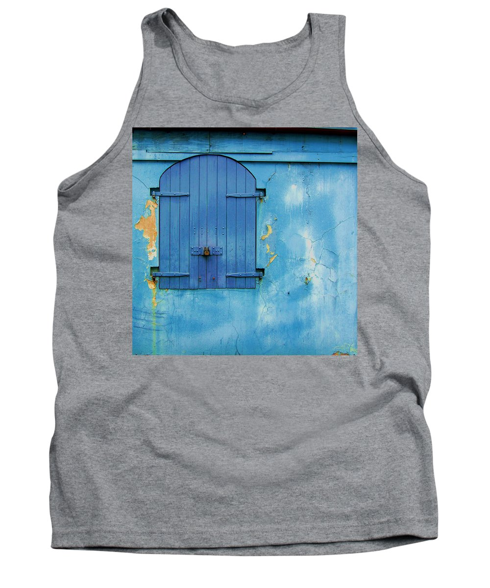 Shutter Tank Top featuring the photograph Shuttered Blue by Debbi Granruth