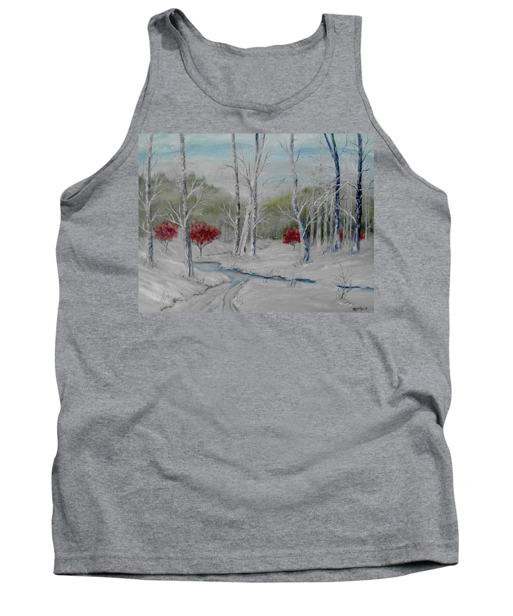 Snow; Winter; Birch Trees Tank Top featuring the painting Silence by Ben Kiger
