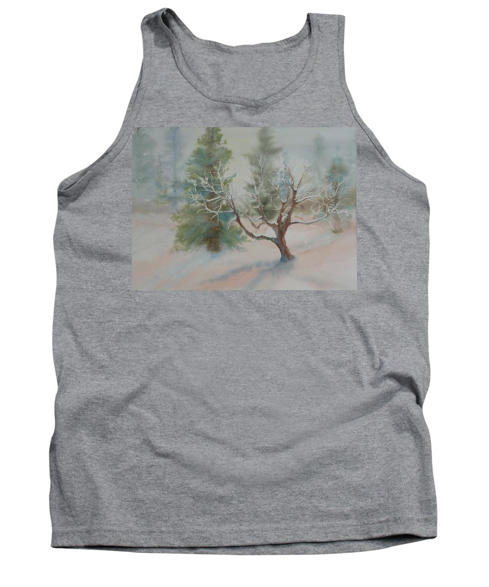 Snow Tank Top featuring the painting Silence by Ruth Kamenev