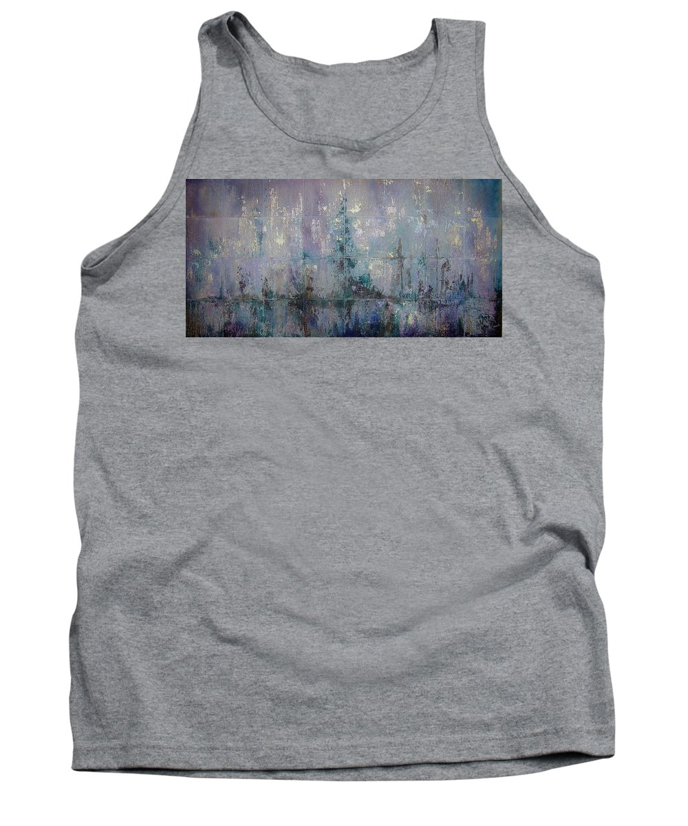 Abstract Tank Top featuring the painting Silver And Silent by Shadia Derbyshire