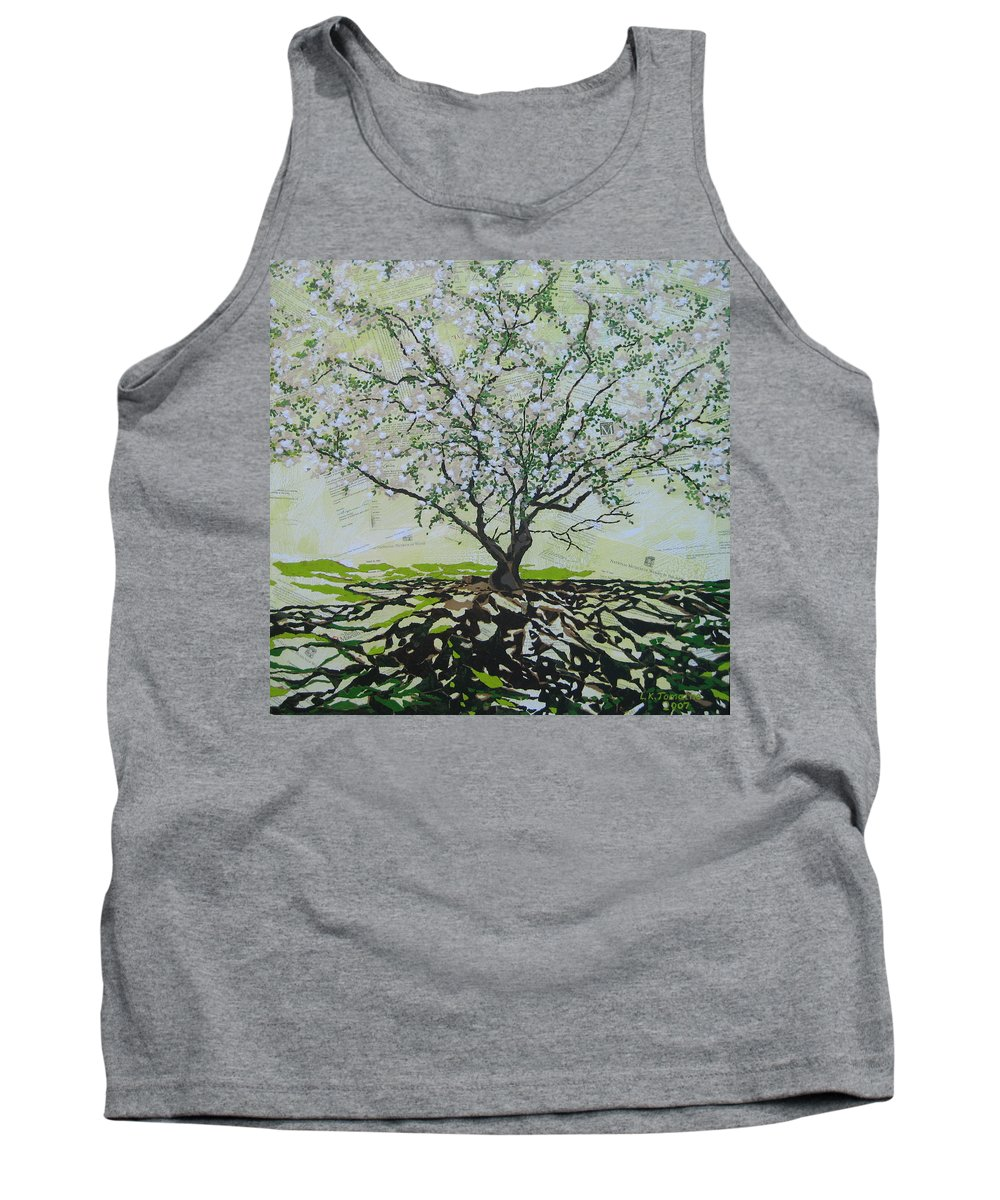 Apple Tree Tank Top featuring the painting Sincerely-The Curator by Leah Tomaino