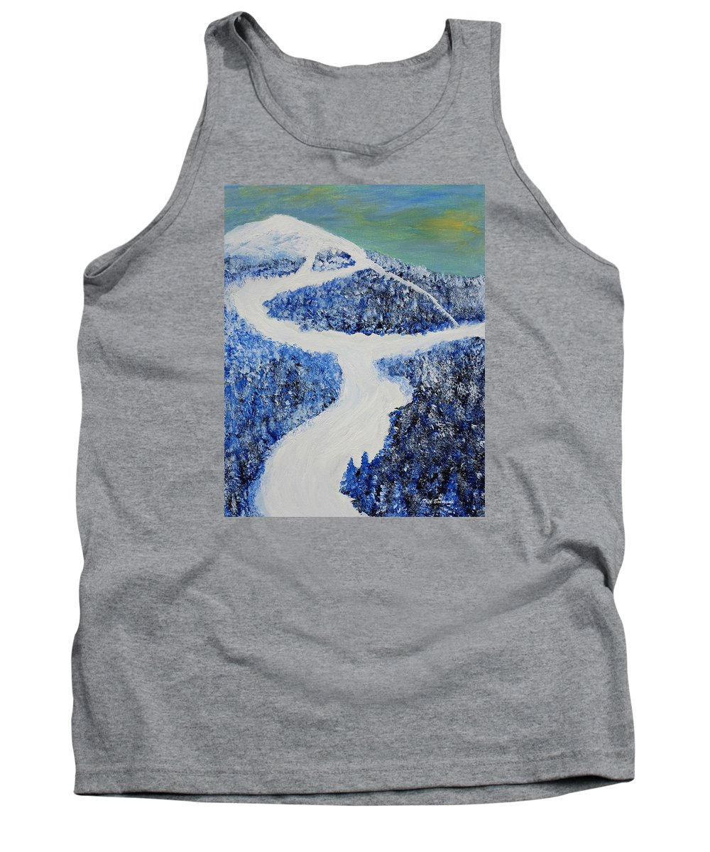 Mountain Tank Top featuring the painting Ski Dream by Dick Bourgault