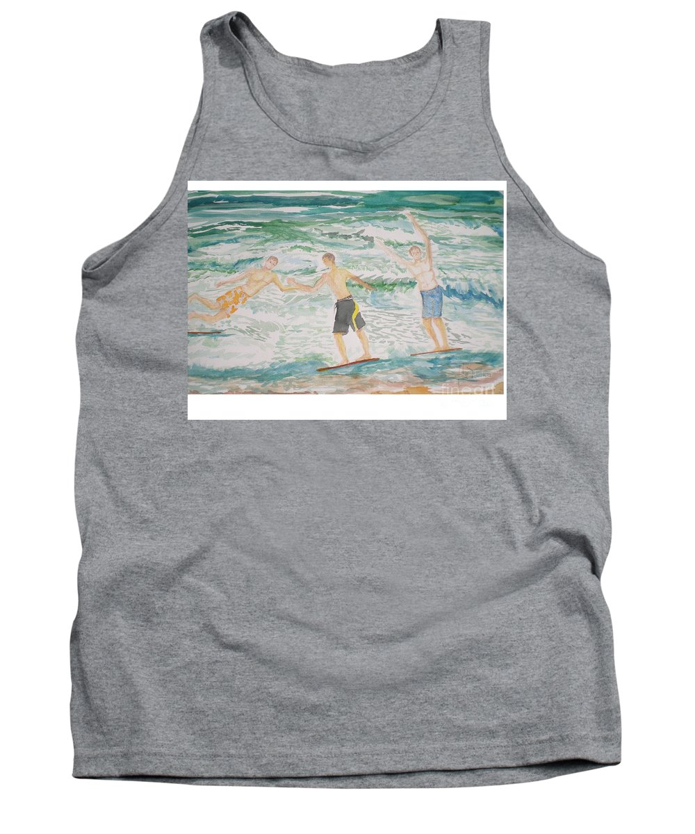 Seascape Tank Top featuring the painting Skim Boarding Daytona Beach by Hal Newhouser