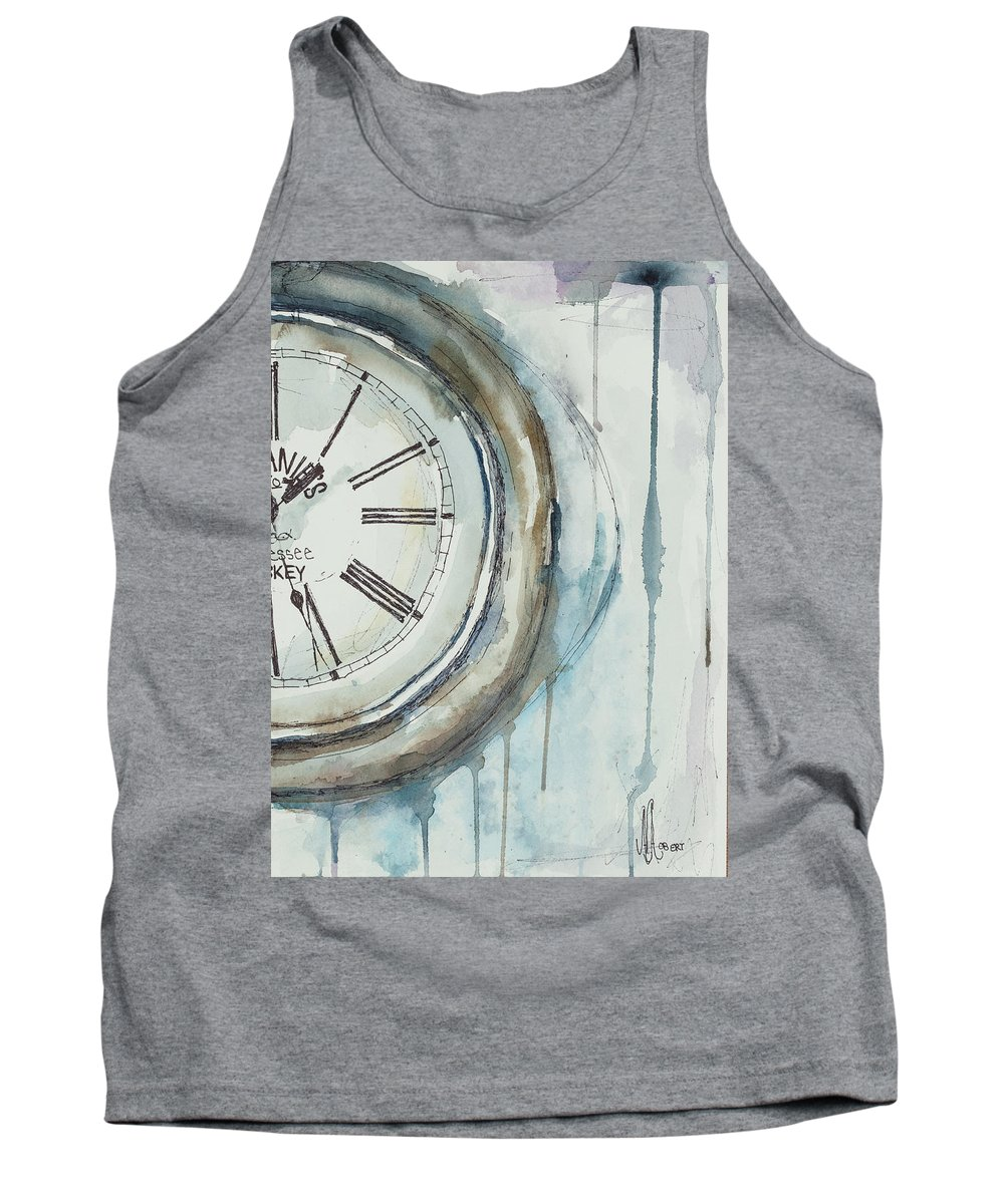 Clock Tank Top featuring the painting Slipping Time by Ava Obert