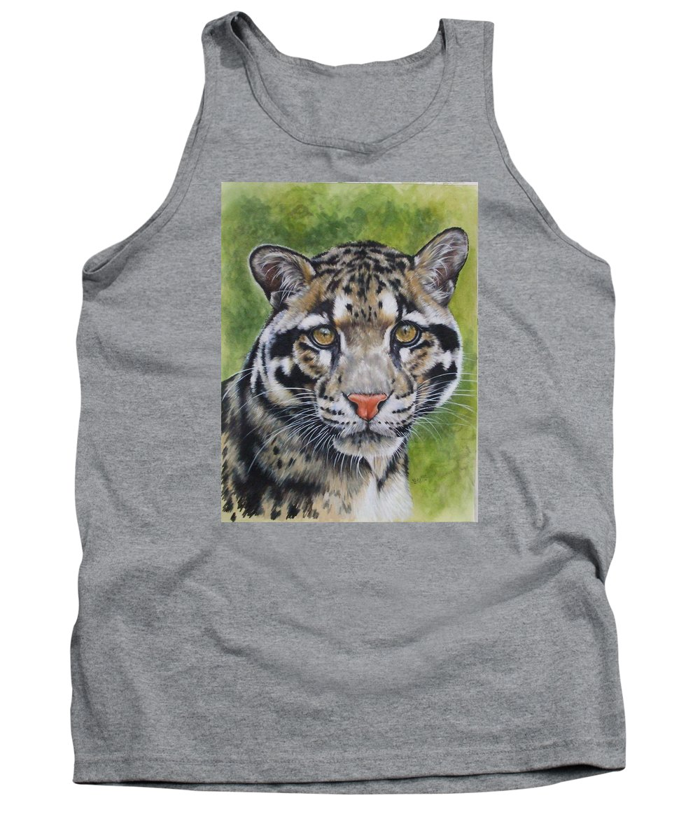 Clouded Leopard Tank Top featuring the mixed media Small But Powerful by Barbara Keith