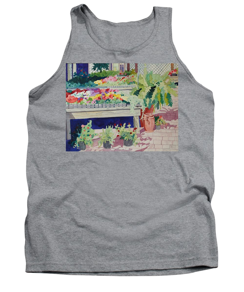 Garden Tank Top featuring the painting Small Garden Scene by Terry Holliday