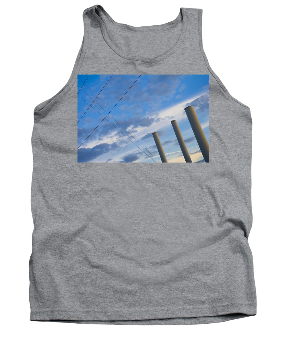Blue Tank Top featuring the photograph Smoke Stax by Skip Hunt