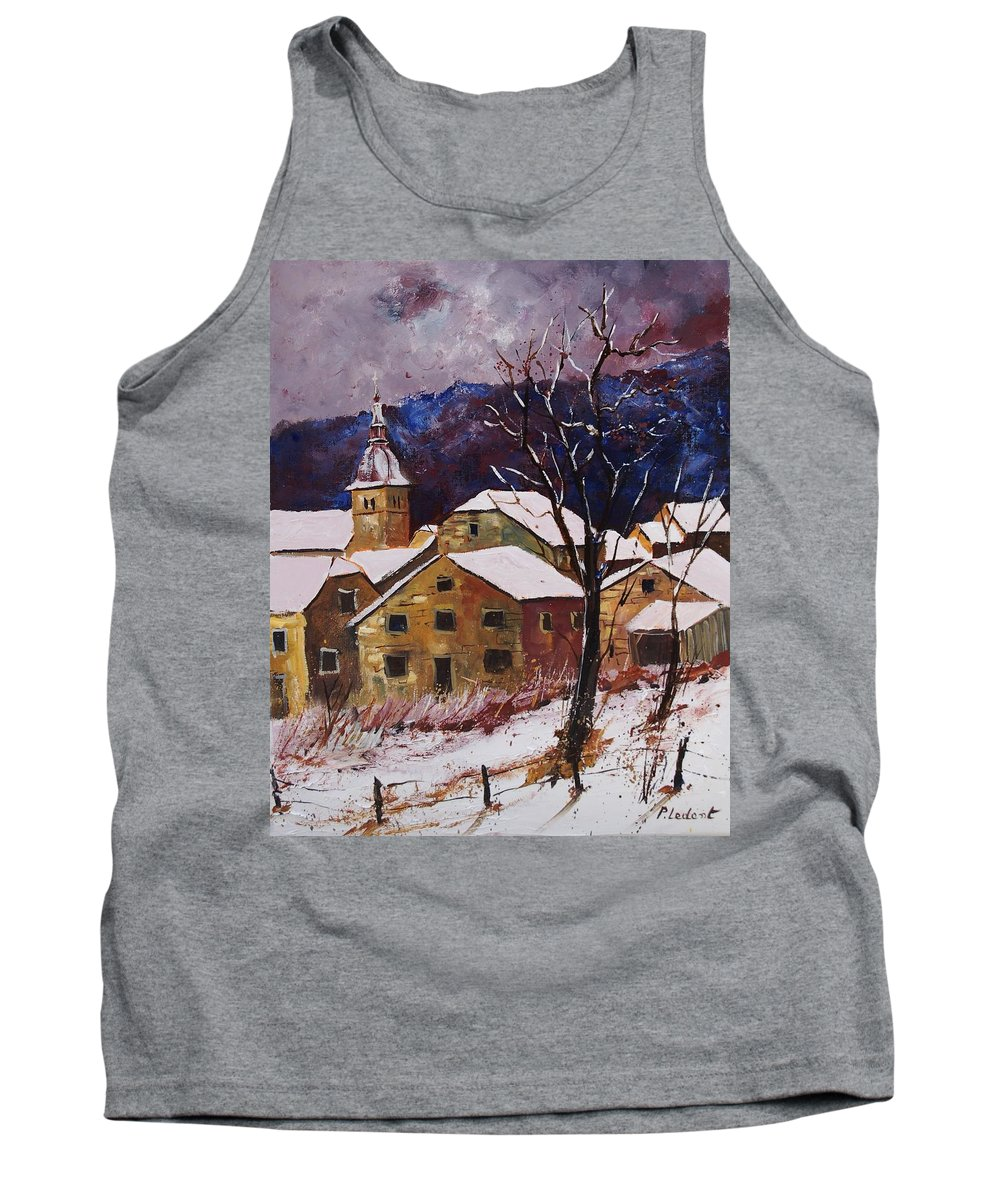 Landscape Tank Top featuring the painting Snow in Chassepierre by Pol Ledent
