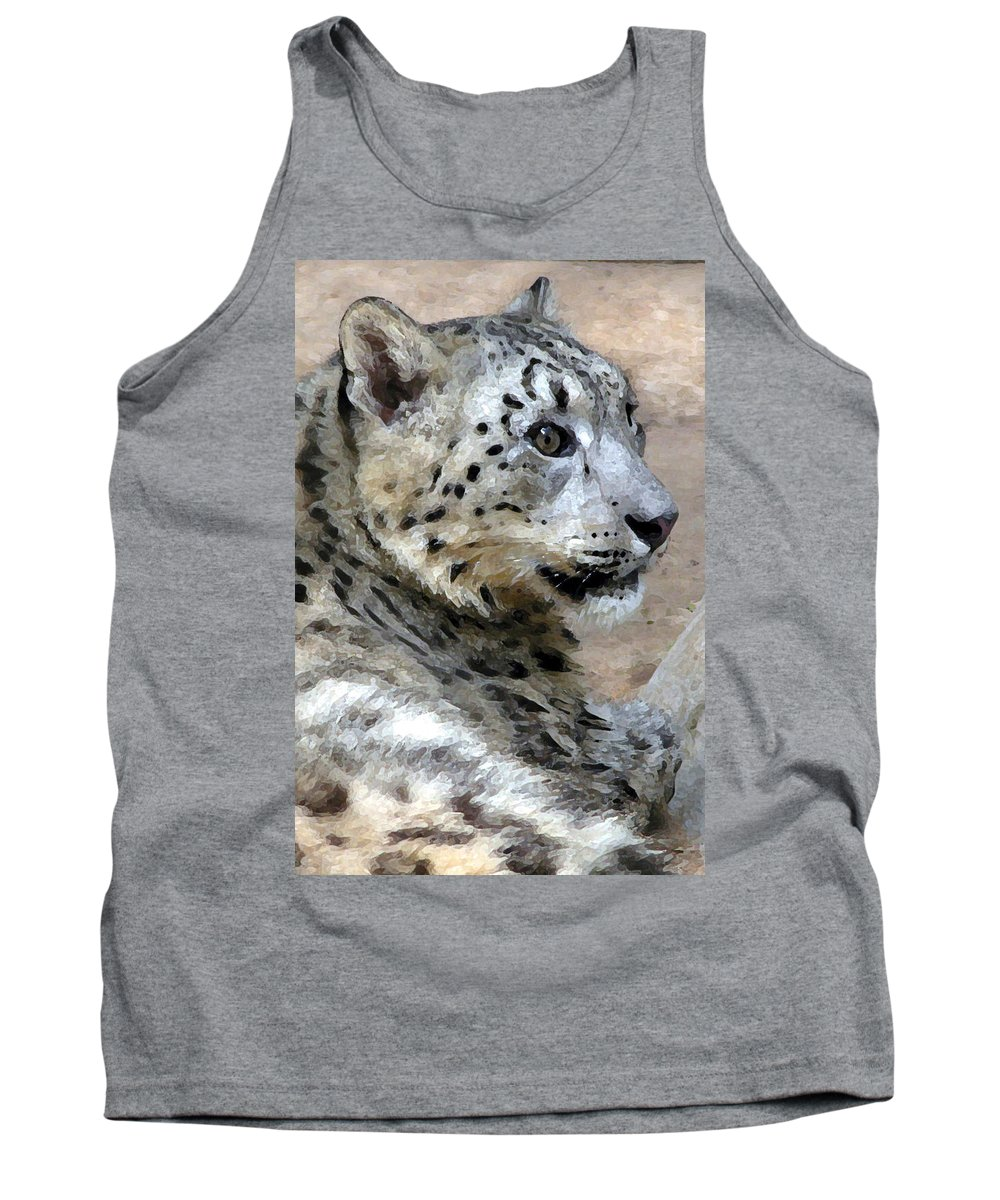 Cat Tank Top featuring the painting Snow Leopard by Stephen Anderson
