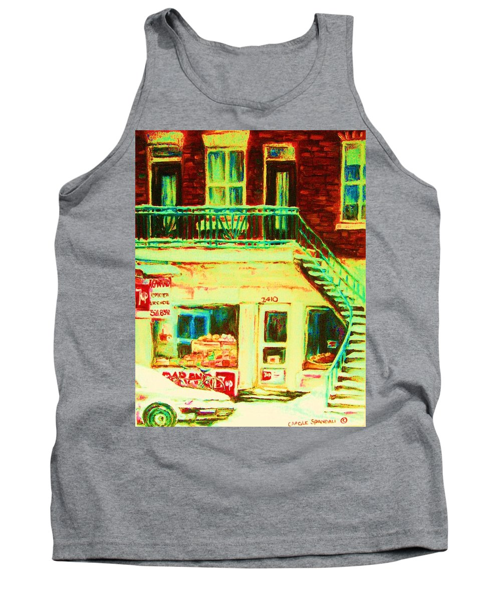 Staircases Tank Top featuring the painting Snowcovered Steps by Carole Spandau