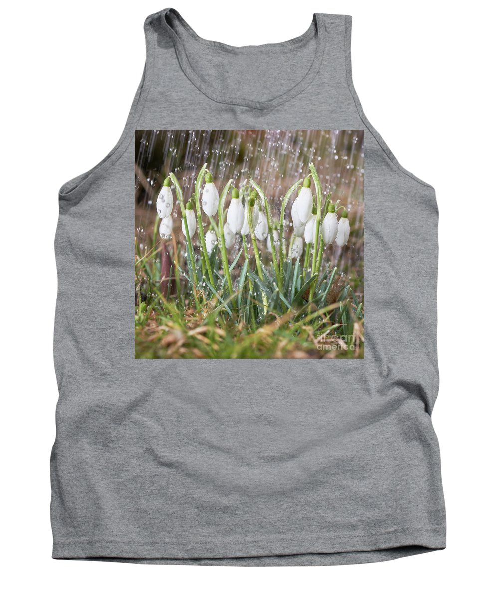 Snowdrop Tank Top featuring the photograph Snowdrops In The Garden Of Spring Rain 1 by Valdis Veinbergs