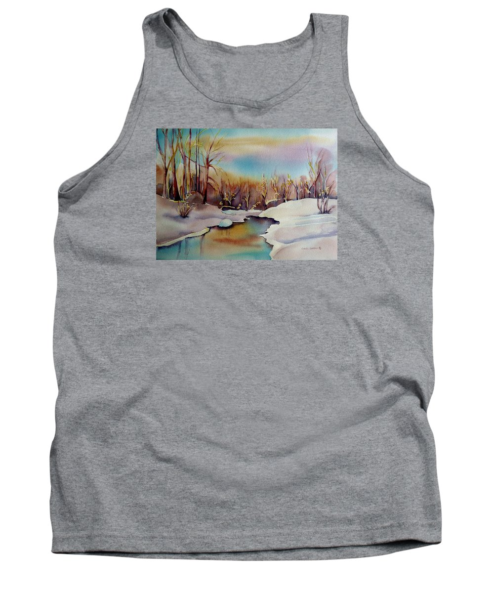 Winterscene Tank Top featuring the painting Snowfall by Carole Spandau