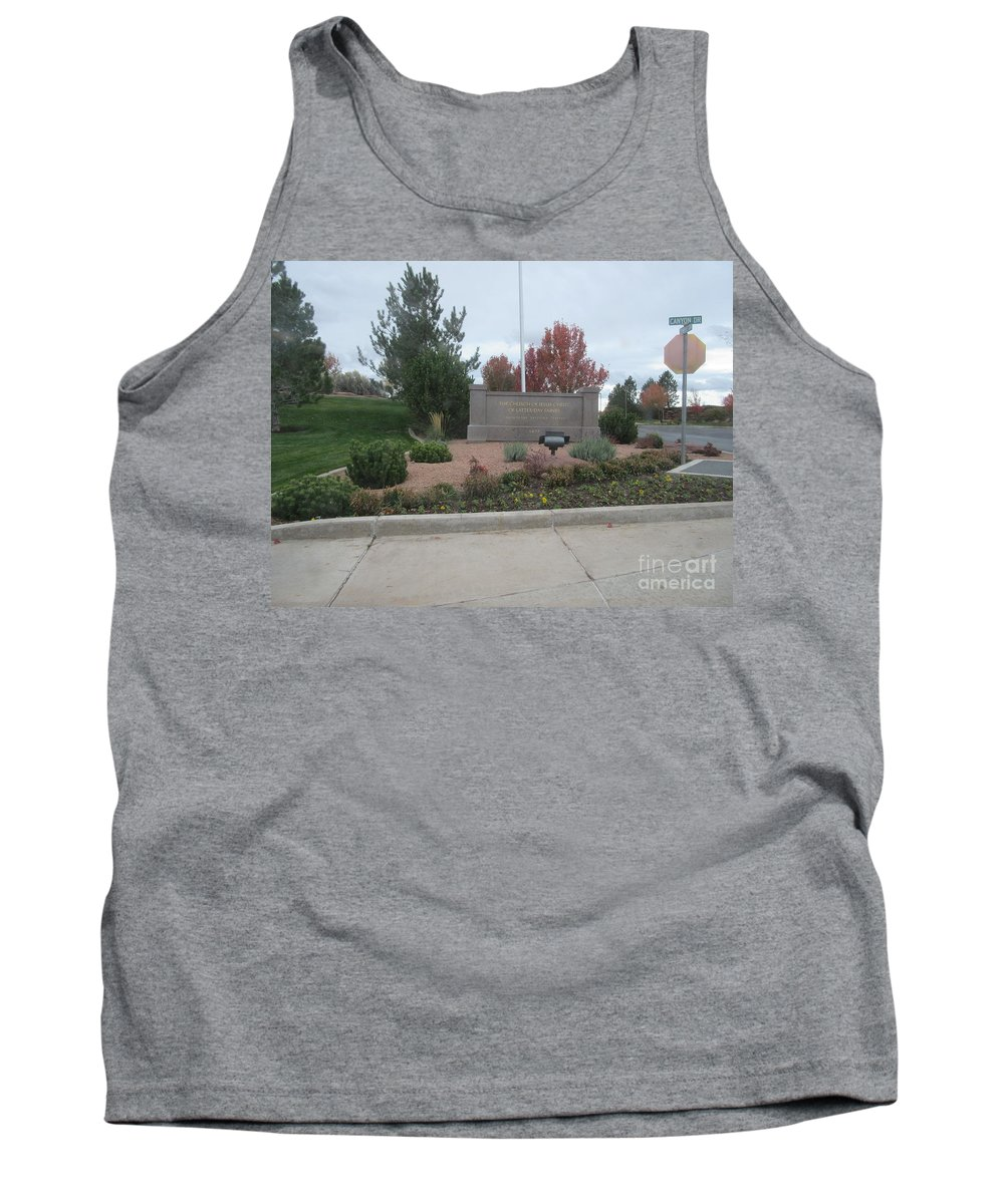 Snowflake Tank Top featuring the photograph Snowflake Mormon Temple Sign by Frederick Holiday