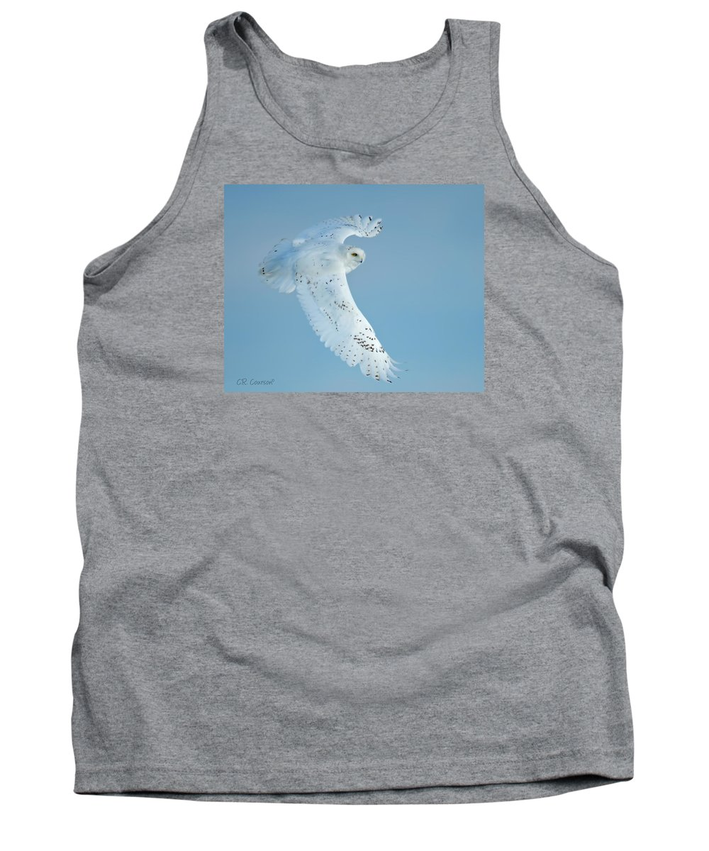 Owls Tank Top featuring the photograph Snowy Against Blue Sky by CR Courson