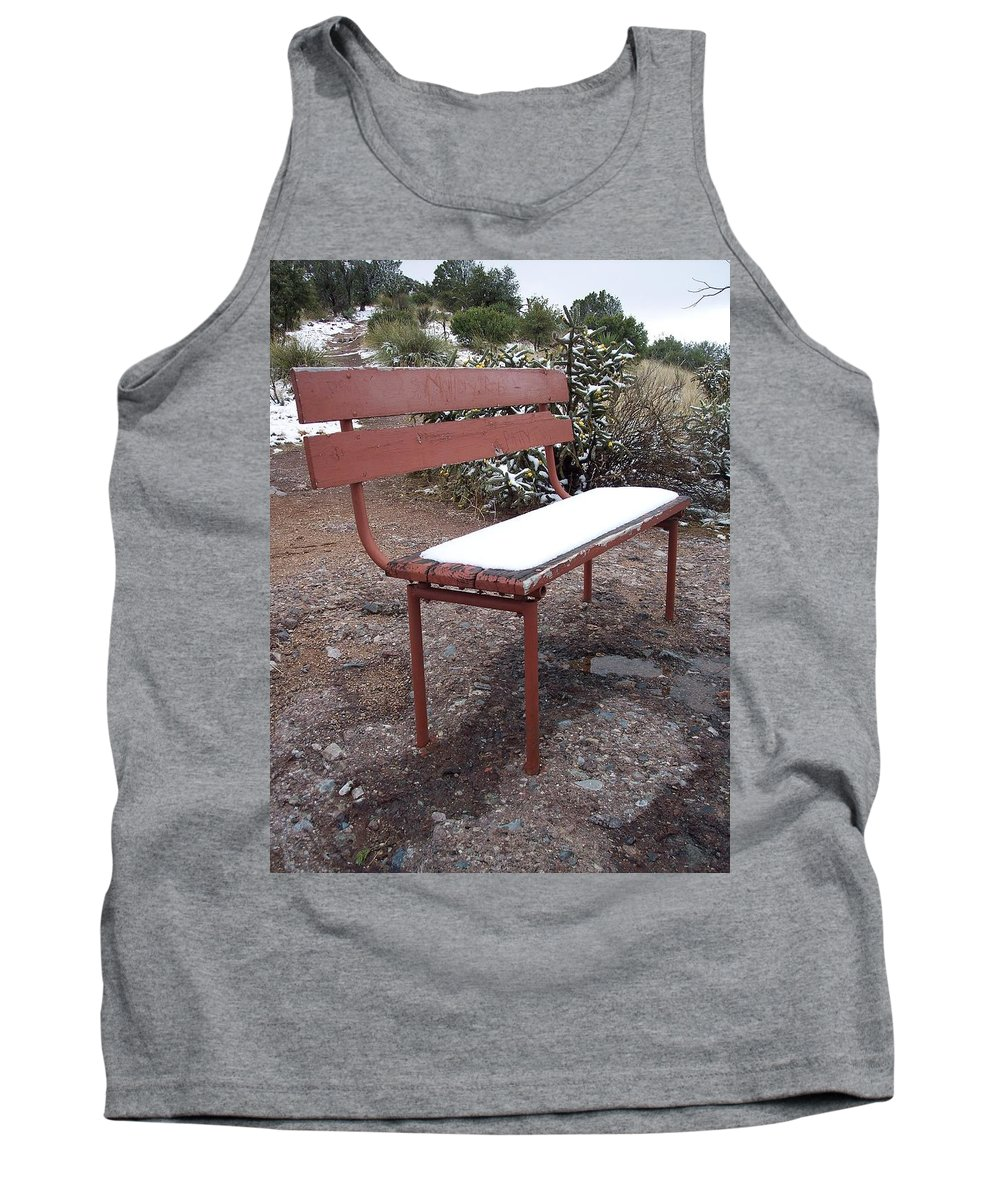 Snow Tank Top featuring the photograph Snowy Bench by Erica Degni
