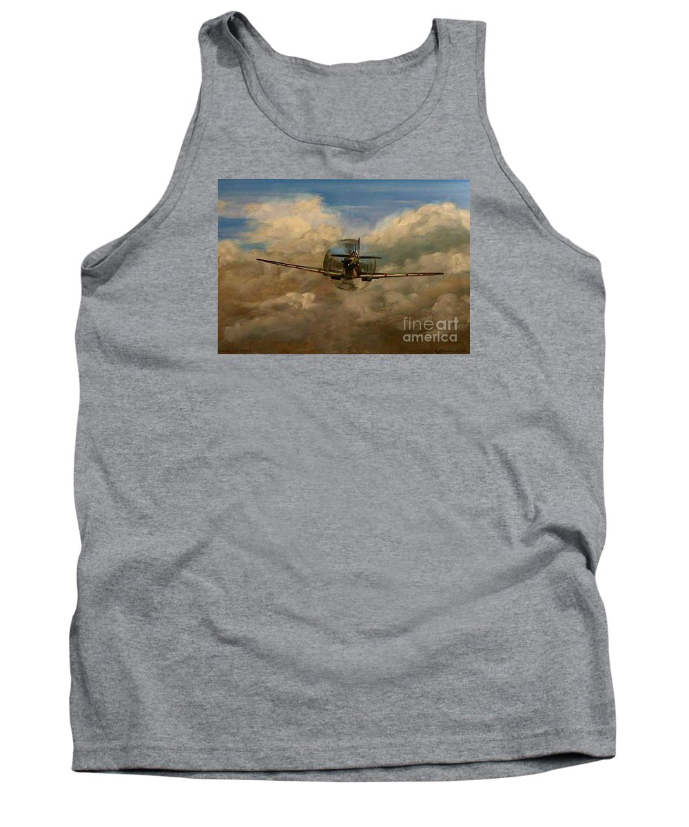 Spitfire Tank Top featuring the painting Spitfire Mk19 1945 Warbird - Dedicated To My Closest Friend Melody Lasola 08 08 83 - 25 10 09 by Richard John Holden RA