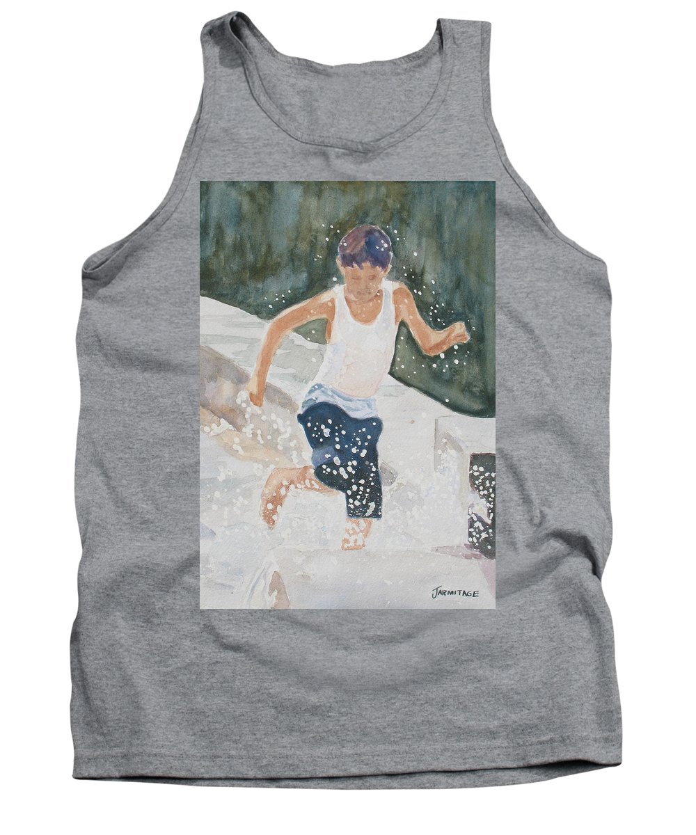 Boy Tank Top featuring the painting Splash Dance by Jenny Armitage
