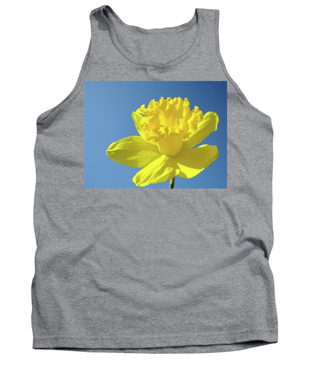 Sky Tank Top featuring the photograph Spring Daffodil Flowers Art Prints Blue Sky Baslee Troutman by Baslee Troutman