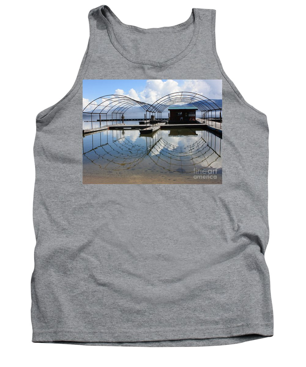 Spring Tank Top featuring the photograph Spring Docks On Priest Lake by Carol Groenen