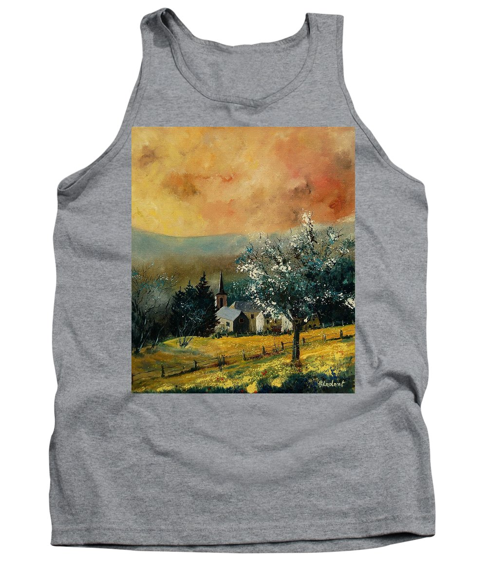 Spring Tank Top featuring the painting Spring In Gendon by Pol Ledent