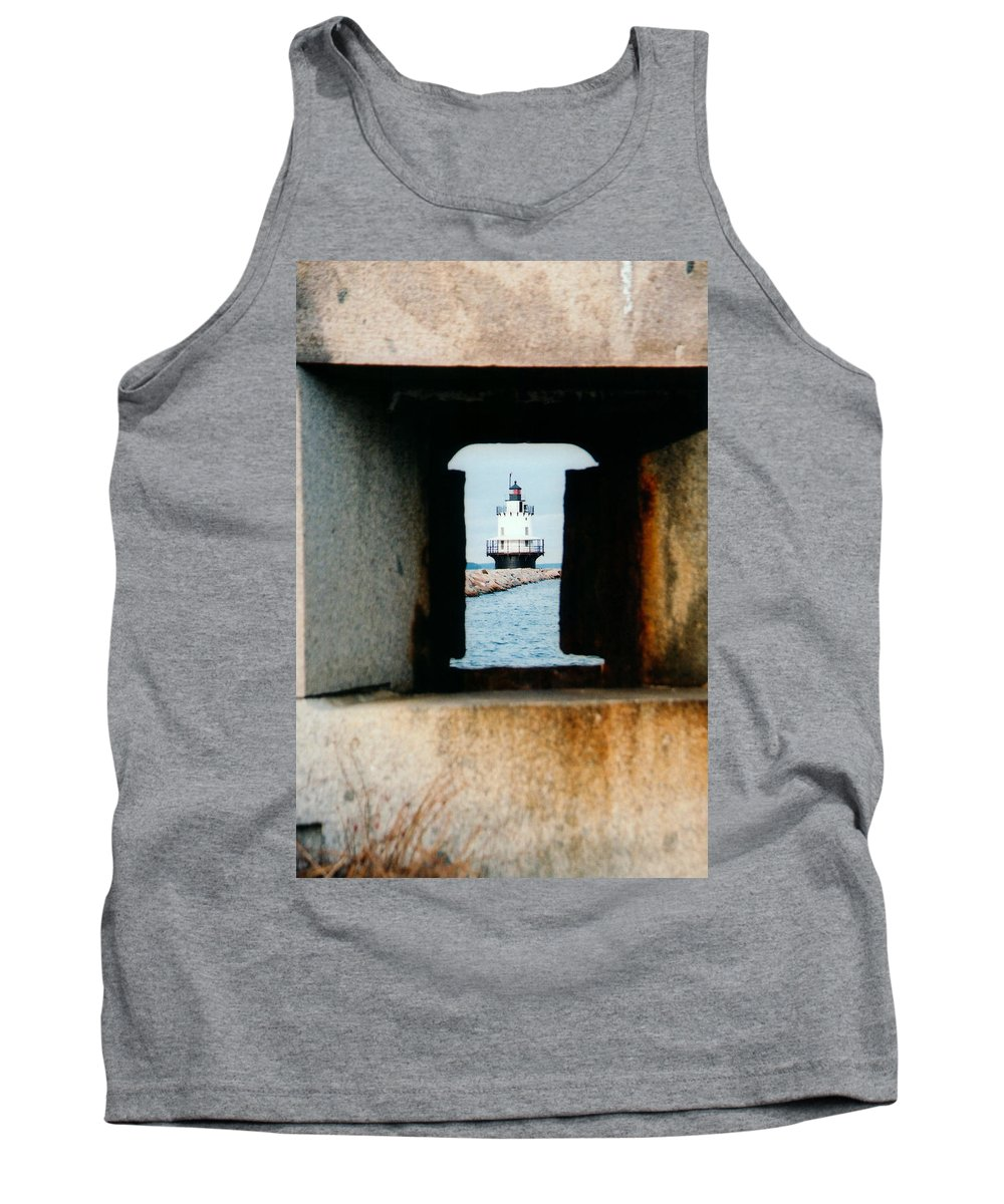 Lighthouse Tank Top featuring the photograph Spring Point Ledge by Greg Fortier