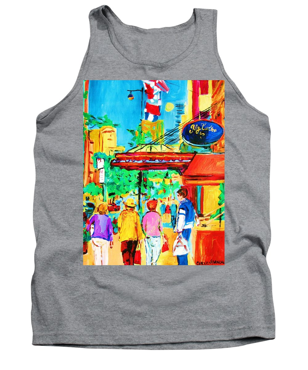 Paintings Of The Ritz Carlton On Sherbrooke Street Montreal Art Tank Top featuring the painting Springtime Stroll by Carole Spandau
