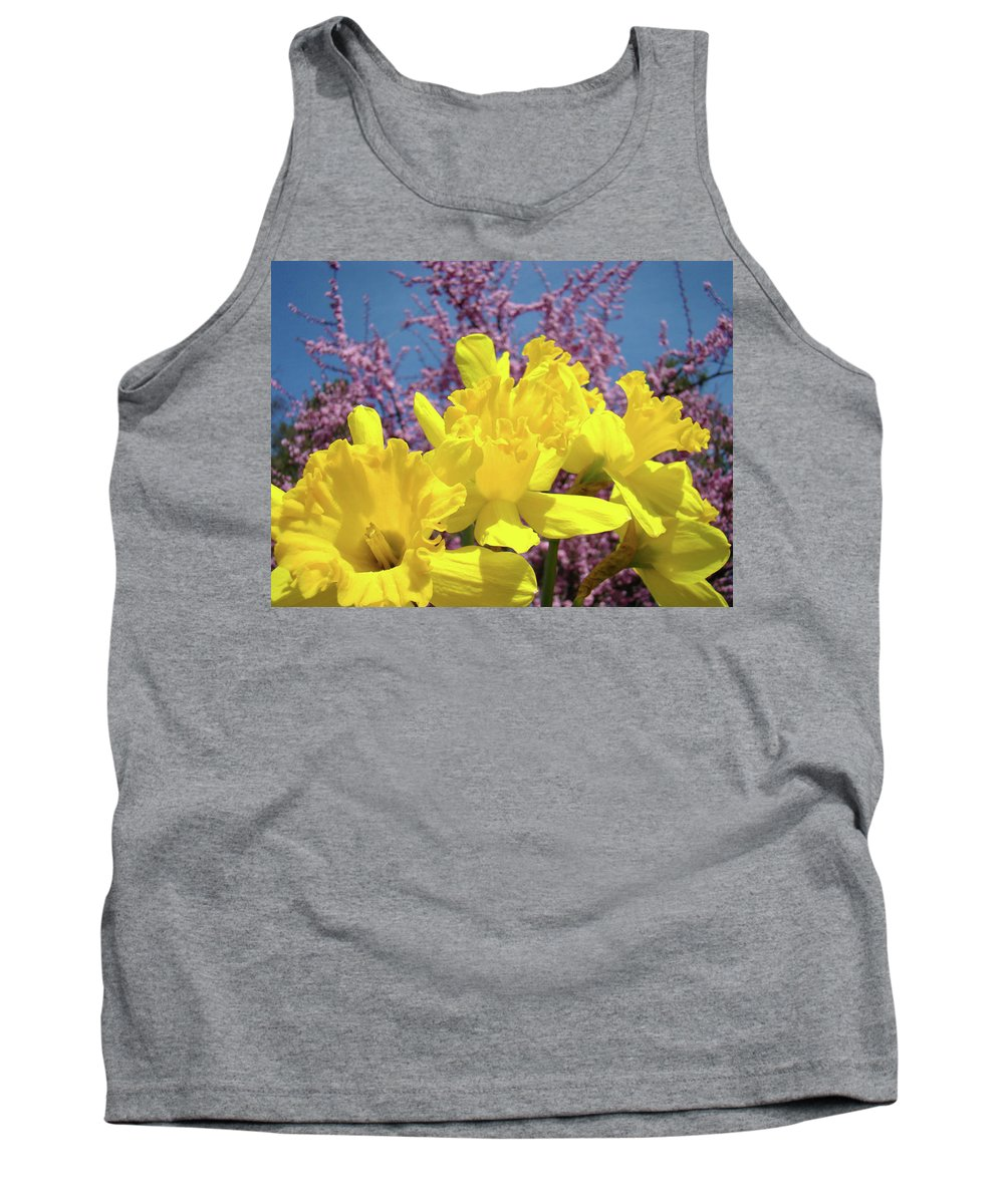 Nature Tank Top featuring the photograph Springtime Yellow Daffodils Art Print Pink Blossoms Blue Sky Baslee Troutman by Baslee Troutman